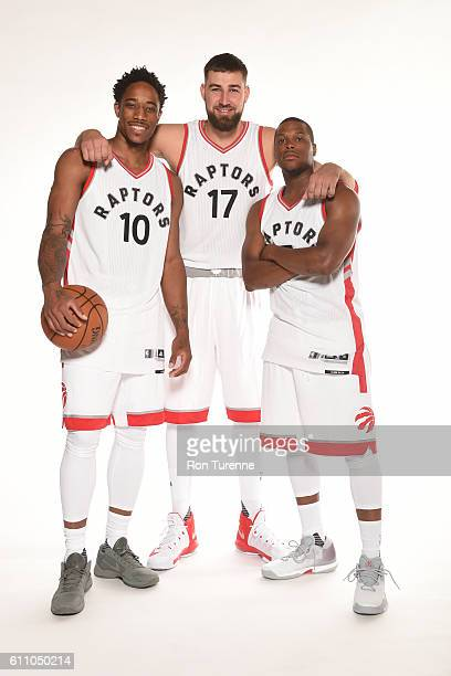 DeMar DeRozan Jonas Valanciunas and Kyle Lowry of the Toronto Raptors pose for a portrait during 2016 Media Day on September 28 2016 at the BioSteel...