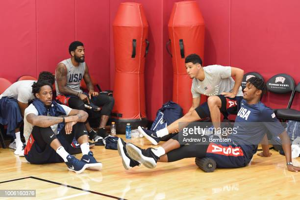 DeMar DeRozan Kyrie Irving Devin Booker and Myles Turner strech and get ready before USAB Minicamp Practice at Mendenhall Center on the University of...