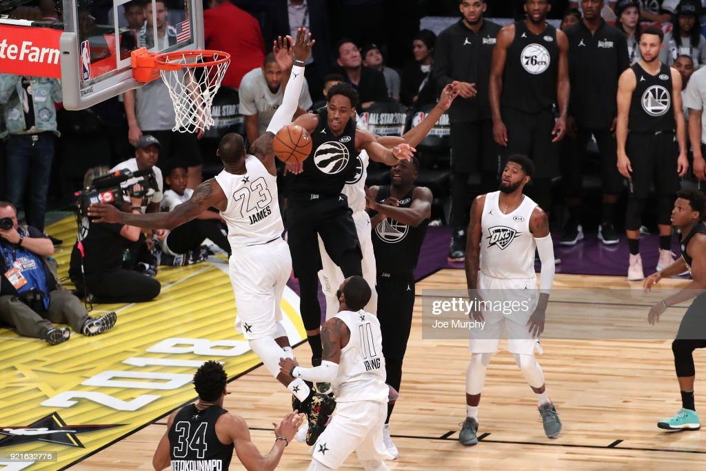 DeMar DeRozan #10 of team Stephen blocks the shot by LeBron James #23 of team LeBron during the NBA All-Star Game as a part of 2018 NBA All-Star Weekend at STAPLES Center on February 18, 2018 in Los Angeles, California.