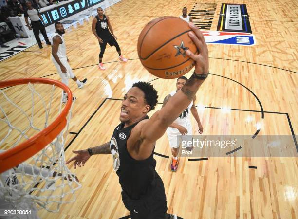 DeMar Derozan of Team Stephen dunks during the NBA AllStar Game 2018 at Staples Center on February 18 2018 in Los Angeles California