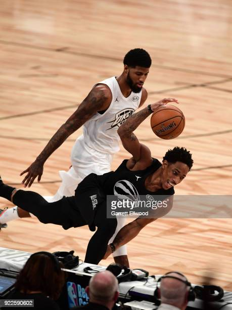 DeMar DeRozan of team Stephen handles the ball during the NBA AllStar Game as a part of 2018 NBA AllStar Weekend at STAPLES Center on February 18...