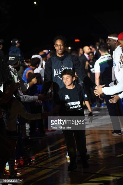 DeMar DeRozan of team Stephen is introduced during the 2018 NBA All Star Practice as part of 2018 AllStar Weekend at Verizon Up Arena at LACC on...