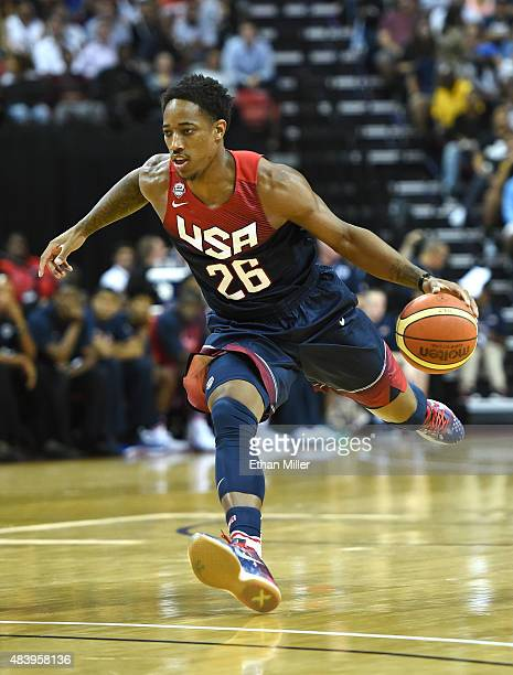 DeMar DeRozan of the 2015 USA Basketball Men's National Team brings the ball up the court during a USA Basketball showcase at the Thomas Mack Center...