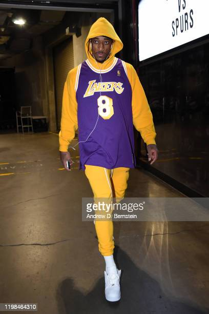 DeMar DeRozan of the San Antonio Spurs arrives to the game against the LA Clippers on February 3 2020 at STAPLES Center in Los Angeles California...
