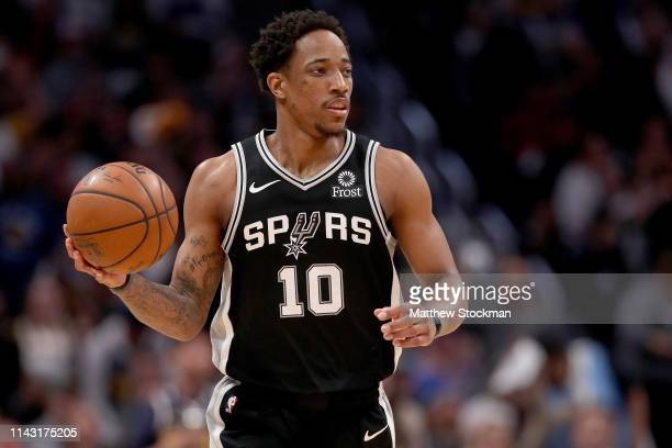Demar DeRozan of the San Antonio Spurs brings the ball down the court against the Denver Nuggets in the second quarter during game two of the first...