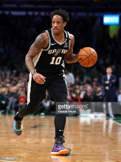 DeMar DeRozan of the San Antonio Spurs dribbles against the Boston Celtics at TD Garden on January 08 2020 in Boston Massachusetts