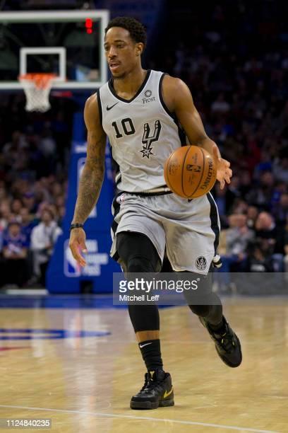 DeMar DeRozan of the San Antonio Spurs dribbles the ball against the Philadelphia 76ers at the Wells Fargo Center on January 23 2019 in Philadelphia...