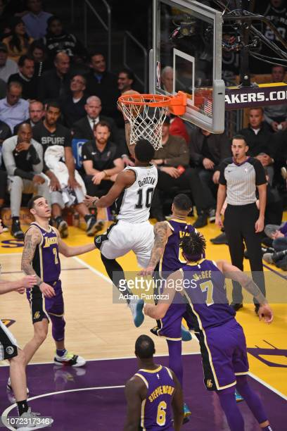 DeMar DeRozan of the San Antonio Spurs goes for lay up against the Los Angeles Lakers on December 5 2018 at STAPLES Center in Los Angeles California...