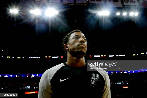 DeMar DeRozan of the San Antonio Spurs looks on prior to the game against the Miami Heat at American Airlines Arena on November 7 2018 in Miami...