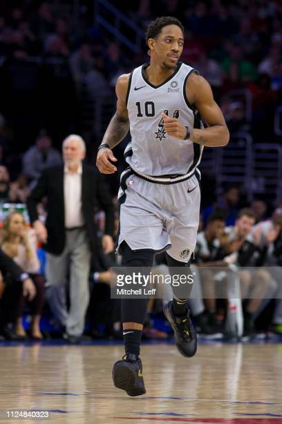 DeMar DeRozan of the San Antonio Spurs runs down the court against the Philadelphia 76ers at the Wells Fargo Center on January 23 2019 in...