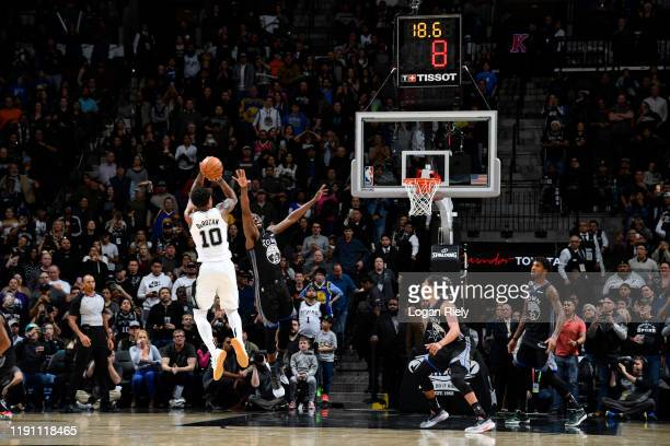 DeMar DeRozan of the San Antonio Spurs shoots the ball to give the Spurs the lead against the Golden State Warriors on December 31 2019 at the ATT...