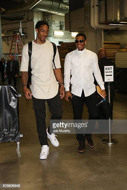 DeMar DeRozan of the Toronto Raptors and Kyle Lowry of the Toronto Raptors arrive before Game Four of the Eastern Conference Semifinals against the...