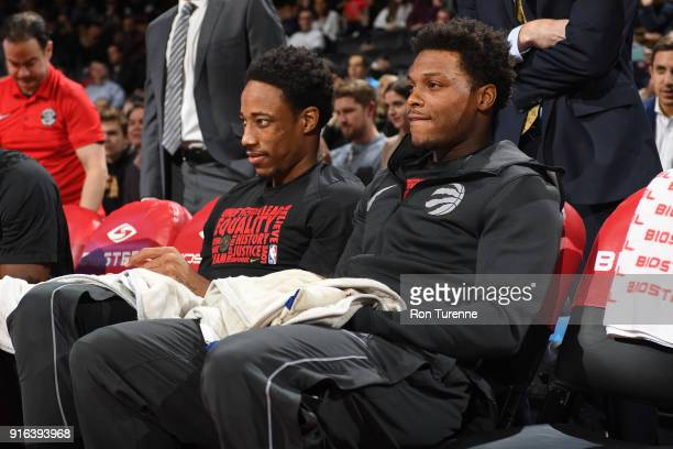 DeMar DeRozan of the Toronto Raptors and Kyle Lowry of the Toronto Raptors before the game against the New York Knicks on February 8 2018 at the Air...