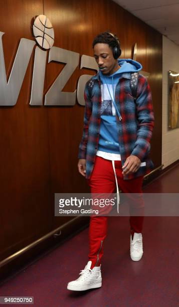 DeMar DeRozan of the Toronto Raptors arrives at the stadium before the game against the Washington Wizards in Game Three of Round One of the 2018 NBA...