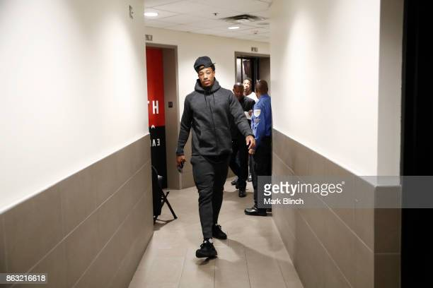 DeMar DeRozan of the Toronto Raptors arrives before the game against the Chicago Bulls on October 19 2017 at the Air Canada Centre in Toronto Ontario...