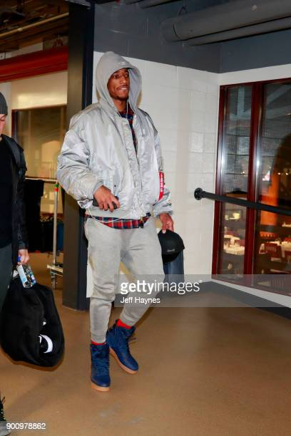 DeMar DeRozan of the Toronto Raptors arrives to the arena prior to the game against the Chicago Bulls on January 3 2018 at the United Center in...