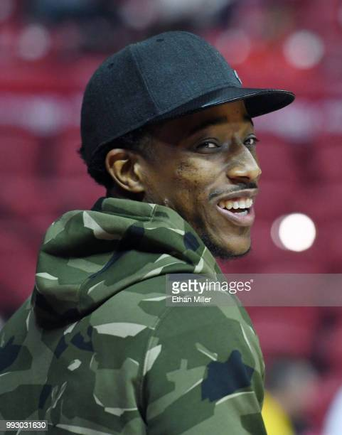 DeMar DeRozan of the Toronto Raptors attends a 2018 NBA Summer League game between the Raptors and the New Orleans Pelicans at the Thomas Mack Center...