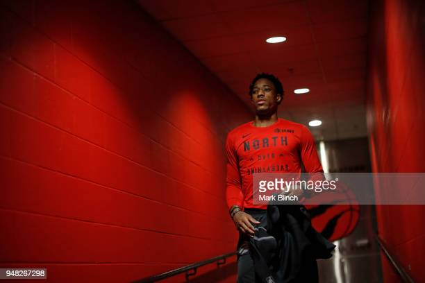 DeMar DeRozan of the Toronto Raptors before the game against the Washington Wizards in Game Two of Round One of the 2018 NBA Playoffs on April 17...