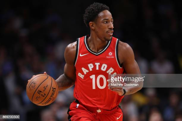 Demar Derozan of the Toronto Raptors brings the ball down the court against the Denver Nuggets at the Pepsi Center on November 1 2017 in Denver...