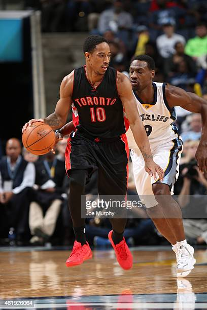 DeMar DeRozan of the Toronto Raptors brings the ball up court against the Memphis Grizzlies on January 21 2015 at the FedExForum in Memphis Tennessee...