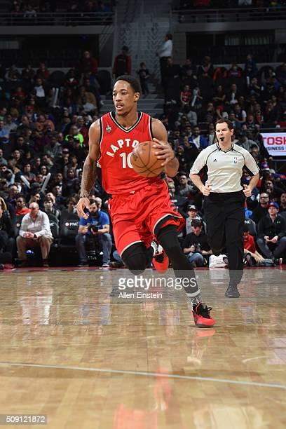 DeMar DeRozan of the Toronto Raptors brings the ball up court against the Detroit Pistons on February 8 2016 at The Palace of Auburn Hills in Auburn...