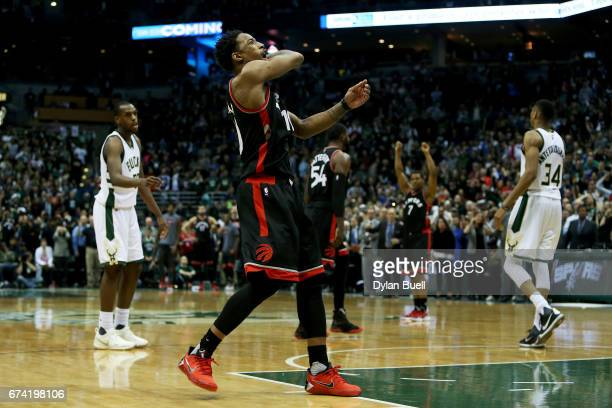 DeMar DeRozan of the Toronto Raptors celebrates after the Toronto Raptors beat the Milwaukee Bucks 9289 in Game Six of the Eastern Conference...