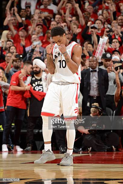 DeMar DeRozan of the Toronto Raptors celebrates during the game against the Indiana Pacers in Game Seven of the Eastern Conference Quarterfinals...