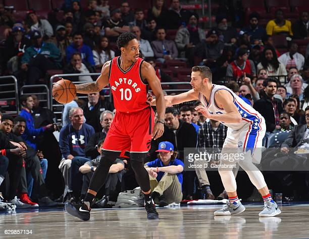 DeMar DeRozan of the Toronto Raptors controls the ball against the Philadelphia 76ers at Wells Fargo Center on December 14 2016 in Philadelphia...
