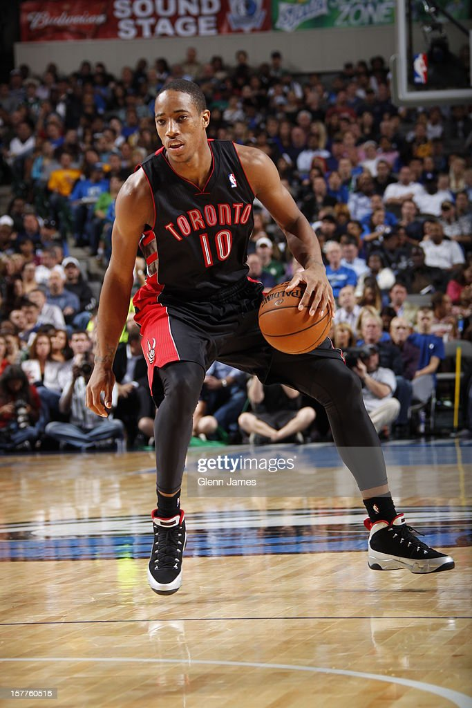 DeMar DeRozan #10 of the Toronto Raptors dribbles the ball against the Dallas Mavericks on November 7, 2012 at the American Airlines Center in Dallas, Texas.