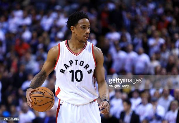 DeMar DeRozan of the Toronto Raptors dribbles the ball in the second half of Game Four of the Eastern Conference Semifinals against the Cleveland...