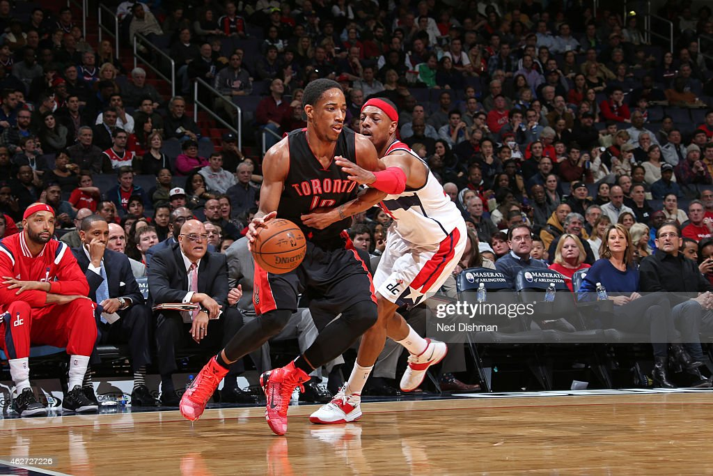 DeMar DeRozan #10 of the Toronto Raptors drives against Paul Pierce #34 of the Washington Wizards on January 31, 2015 at Verizon Center in Washington, DC.