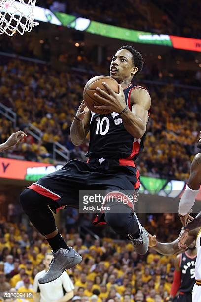 DeMar DeRozan of the Toronto Raptors drives to the basket against Tristan Thompson of the Cleveland Cavaliers in the first quarter in game one of the...