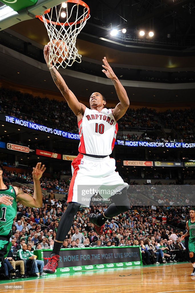 DeMar DeRozan #10 of the Toronto Raptors drives to the basket against the Boston Celtics on March 13, 2013 at the TD Garden in Boston, Massachusetts.