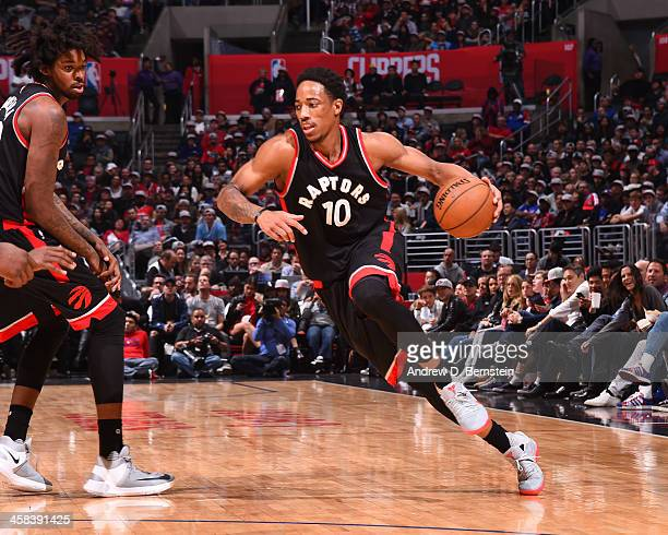 DeMar DeRozan of the Toronto Raptors drives to the basket against the LA Clippers at STAPLES Center on November 21 2016 in Los Angeles California...