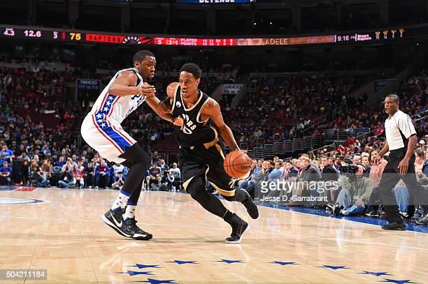 DeMar DeRozan of the Toronto Raptors drives to the basket against the Philadelphia 76ers at Wells Fargo Center on January 9 2015 in Philadelphia...