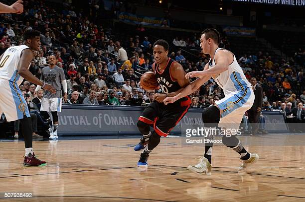 DeMar DeRozan of the Toronto Raptors drives to the basket against the Denver Nuggets on February 1 2016 at the Pepsi Center in Denver Colorado NOTE...