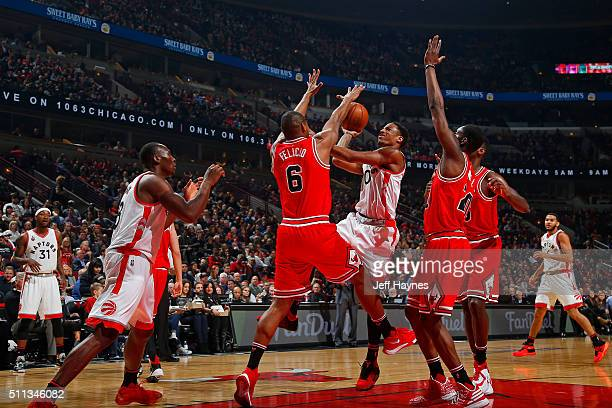 DeMar DeRozan of the Toronto Raptors drives to the basket against the Chicago Bulls on February 19 2016 at the United Center in Chicago Illinois NOTE...