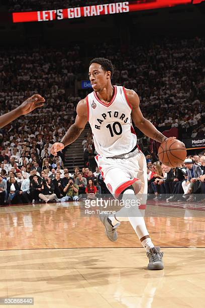 DeMar DeRozan of the Toronto Raptors drives to the basket against the Miami Heat during Game Five of the Eastern Conference Semifinals during the...