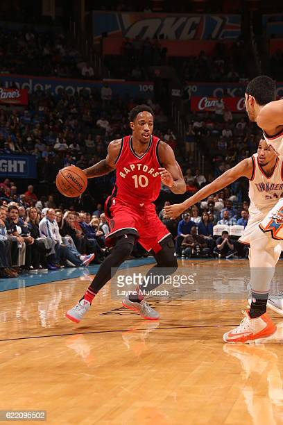 DeMar DeRozan of the Toronto Raptors drives to the basket against the Oklahoma City Thunder on November 9 2016 at Chesapeake Energy Arena in Oklahoma...