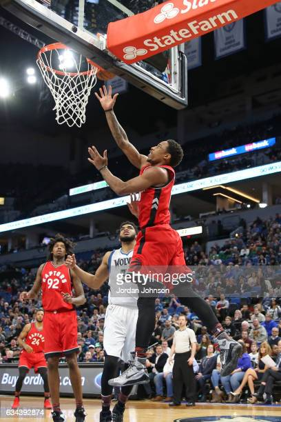 DeMar DeRozan of the Toronto Raptors drives to the basket against the Minnesota Timberwolves on February 8 2017 at Target Center in Minneapolis...