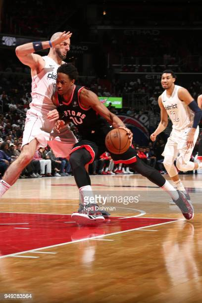 DeMar DeRozan of the Toronto Raptors drives to the basket against the Washington Wizards in Game Three of Round One of the 2018 NBA Playoffs on April...