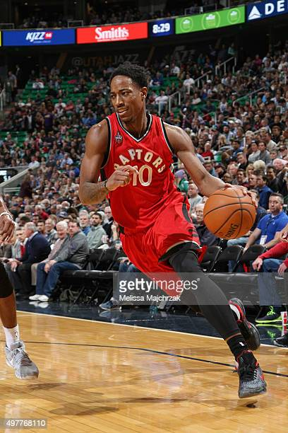 DeMar DeRozan of the Toronto Raptors drives to the basket during the game against the Utah Jazz on November 18 2015 at EnergySolutions Arena in Salt...