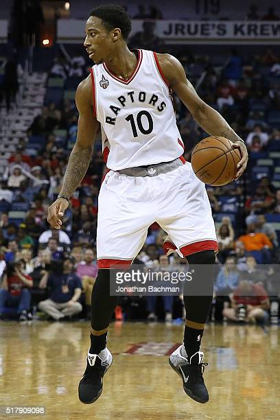 DeMar DeRozan of the Toronto Raptors drives with the ball during a game at the Smoothie King Center on March 26 2016 in New Orleans Louisiana NOTE TO...