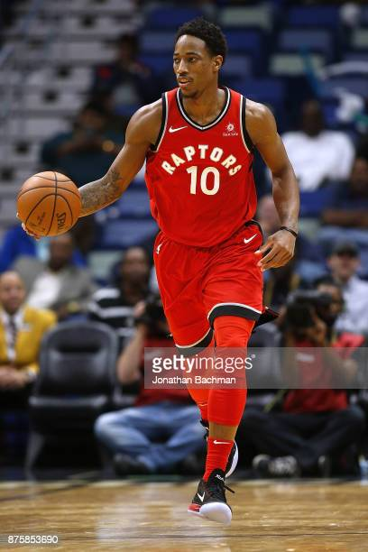 DeMar DeRozan of the Toronto Raptors drives with the ball during the second half of a game against the New Orleans Pelicans at the Smoothie King...