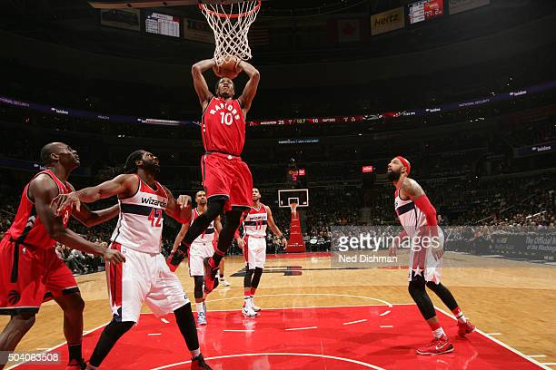 DeMar DeRozan of the Toronto Raptors dunks against the Washington Wizards on January 8 2016 at Verizon Center in Washington DC NOTE TO USER User...