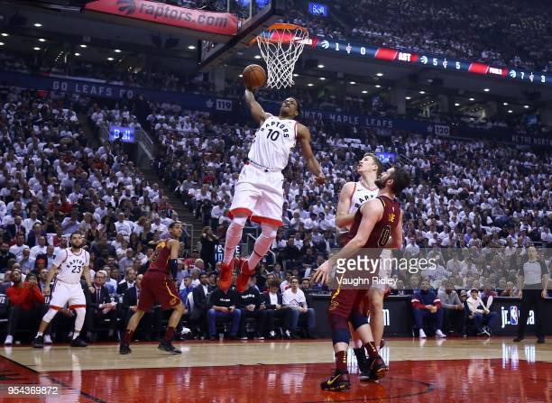 DeMar DeRozan of the Toronto Raptors dunks the ball in the first half of Game Two of the Eastern Conference Semifinals against the Cleveland...