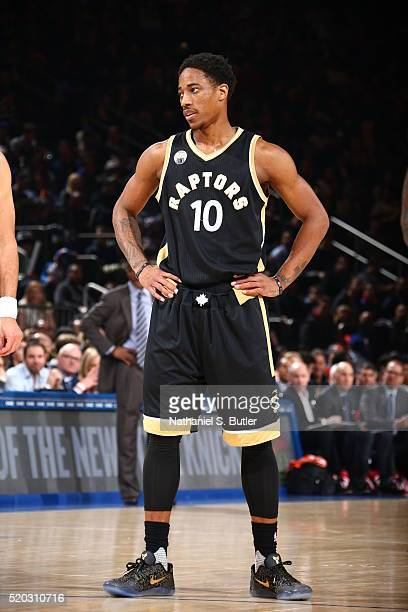 DeMar DeRozan of the Toronto Raptors during the game against the New York Knicks on April 10 2016 at Madison Square Garden in New York City NOTE TO...