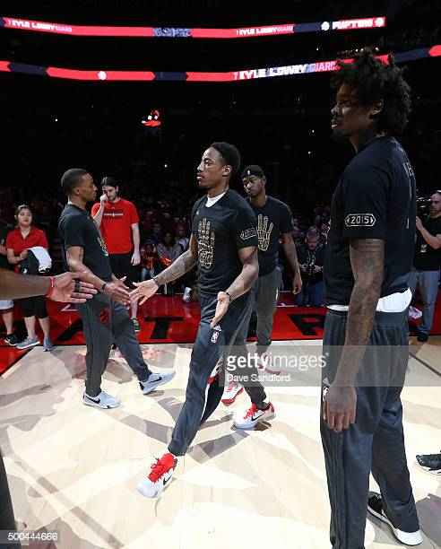 DeMar DeRozan of the Toronto Raptors gets introduced before the game against the Golden State Warriors December 5 2015 at Air Canada Centre in...