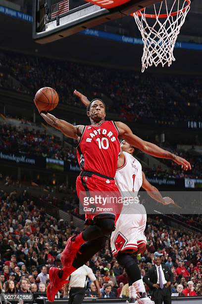 DeMar DeRozan of the Toronto Raptors goes for the dunk against the Chicago Bulls during the game on December 28 2015 at United Center in Chicago...