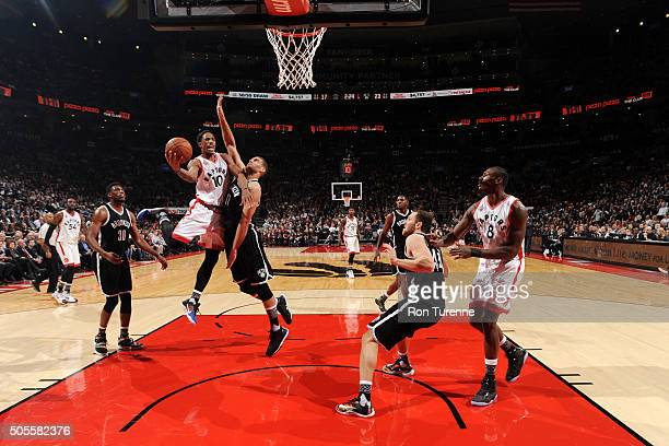 DeMar DeRozan of the Toronto Raptors goes for the layup during the game against the Brooklyn Nets on January 18 2016 at the Air Canada Centre in...